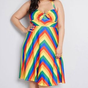 ModCloth it's only bright knit halter dress pride